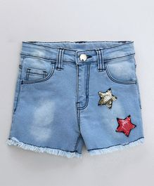 Babyoye Denim Shorts Star Sequin - Blue