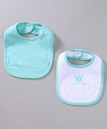 Babyoye Printed Bibs Pack of 2 - Mint Green & White