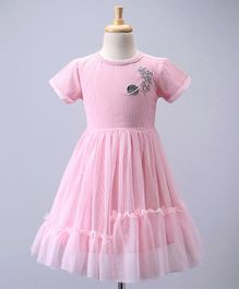 Babyoye Half Sleeves Striped Frock Galaxy Embroidered - Pink