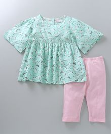 Babyoye Half Sleeves Top With Leggings Unicorn Print - Mint Green Pink