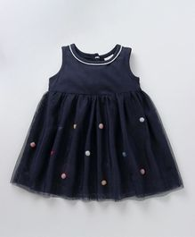 Babyoye Sleeveless Frock Pom Pom Design - Navy Blue