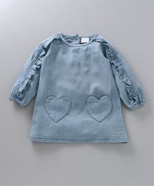 Babyoye Full Sleeves Denim Dress - Blue