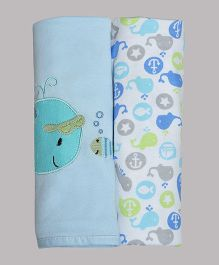 Kiwi Cotton Blankets Fish Patch Pack of 2 - White Blue