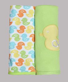 Kiwi Cotton Blankets Duck Patch Pack of 2 - White Green
