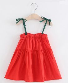 Pre Order - Awabox Knotted Flare Dress - Red