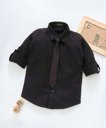 Robo Fry Full Sleeves Party Shirt With Tie - Black