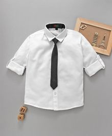 Robo Fry Full Sleeves Party Shirt With Tie - White