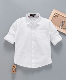 Robo Fry Full Sleeves Solid Color Party Shirt With Bow - White