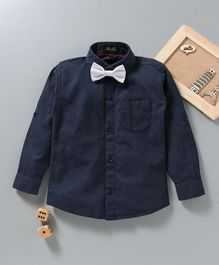 Robo Fry Full Sleeves Solid Color Party Shirt With Bow - Navy Blue