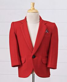 Robo Fry Full Sleeves Solid Color Blazer - Red
