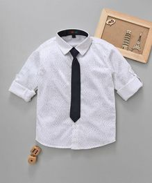 Robo Fry Full Sleeves Printed Party Shirt With Tie - White