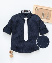 Robo Fry Full Sleeves Printed Party Shirt With Tie - Navy Blue