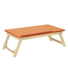 NHR Multipurpose Foldable Wooden Laptop Table With Side Mouse Table - Orange