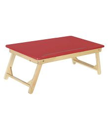 NHR Multipurpose Foldable Wooden Laptop Table With Side Mouse Table - Red