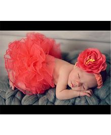 Babymoon Tutu Skirt With Headband Floral Applique - Red