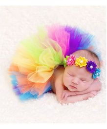 Babymoon Tutu Skirt With Headband Floral Applique - Multicolour