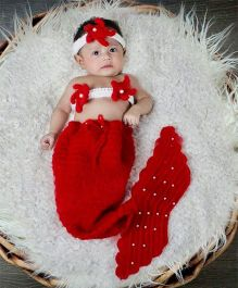 Babymoon Mermaid Designer Baby Costume - Red
