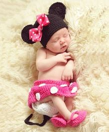 Babymoon Minnie Mouse Designer Clothing Set - Pink Black