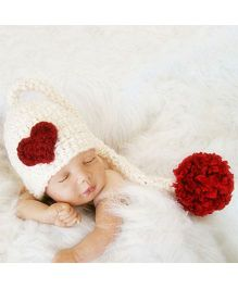 Babymoon Long Tail Cap Heart Design - White Red