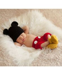 Babymoon Mickey Mouse Designer Nappy With Cap & Booties - Black Red