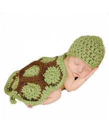 Babymoon Turtle Designer Long Tail Cap - Green Brown