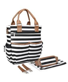 Babymoon Unisex Waterproof Diaper Tot Bag Stripes Print - White Black