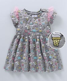 Babyoye Flutter Cap Sleeves Frock Unicorn & Ice Cream Print - Grey