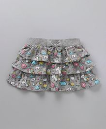 Babyoye Layered Printed Skirt Bow Applique - Grey