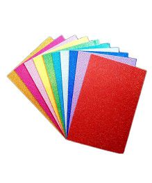 Funcart EVA Foam A4 Size Glitter Sheets Pack Of 10 (Assorted Colors)