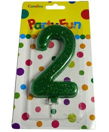 Funcart Big Glitter Numerical Candle 2 Shape - Green