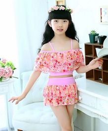 Milonee Floral Off Shoulder 2 Piece Swimwear - Pink