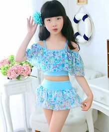 Milonee Floral Off Shoulder 2 Piece Swimwear - Blue