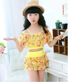 Milonee Floral Off Shoulder 2 Piece Swimwear - Yellow