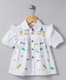 Hugsntugs Top With Fun Embroidery - White