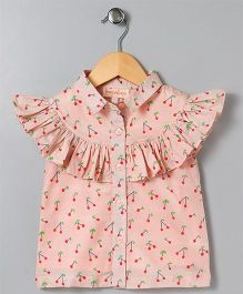 Hugsntugs Cherry Print Top With Frill - Peach