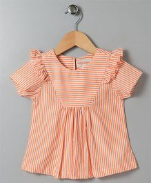 Hugsntugs Stripe Top With Frill - Orange