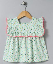 Hugsntugs Confetti Print Top With Edge Frill - Light Green