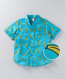 Hugsntugs Banana Print Shirt - Blue