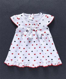 Child World Cap Sleeves Heart Print Frock Bow Applique - White