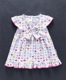 Child World Cap Sleeves Frock Apple Print - White