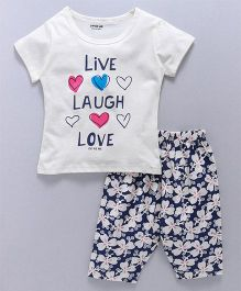 Doreme Half Sleeves Night Suit Live Laugh Love Print - White Navy