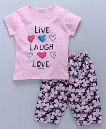 Doreme Half Sleeves Night Suit Live Laugh Love Print - Pink Navy