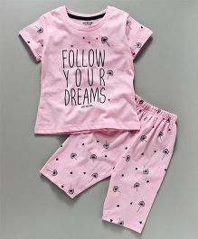 Doreme Half Sleeves Night Suit Follow Your Dreams Print - Pink