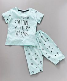 Doreme Half Sleeves Night Suit Follow Your Dreams Print - Light Blue