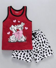 Doreme Sleeveless Night Suit Puppy Print - Red White