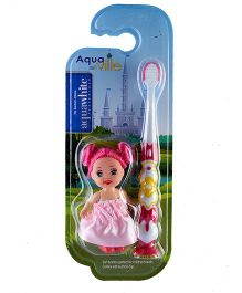 aquawhite Aqua Ville Ultra Soft Toothbrush With Doll Toy - Pink