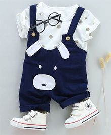 Pre Order - Tickles 4 U Dog Face Dungaree & Tee Set - Blue