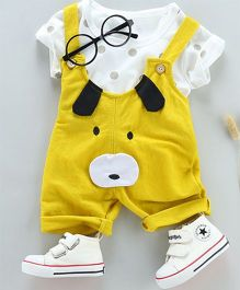 Pre Order - Tickles 4 U Dog Face Dungaree & Tee Set - Yellow