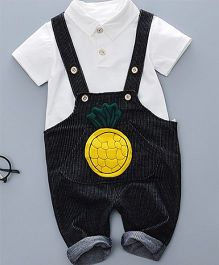 Pre Order - Tickles 4 U Pineapple Dungaree & Tee Set - Black