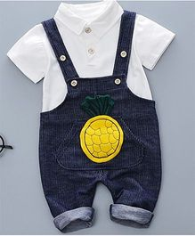 Pre Order - Tickles 4 U Pineapple Dungaree & Tee Set - Blue